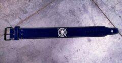 Blauwe Tuff Guy Sports Blue Suede Lifting Belt, Gewichthefriem met enkele gesp sluiting maat XL, met 12mm dikte