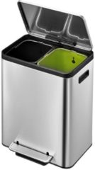 Roestvrijstalen EKO EcoCasa Prullenbak - 15+15 l - Mat/RVS - voor Afvalscheiding