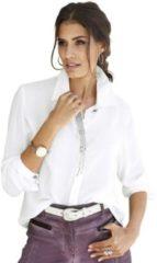 Naturelkleurige Alessa W. blouse met fonkelende glinstersteentjes