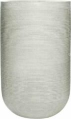 Licht-grijze Parelmoer Vaas Hoge bloempot grijs betonlook streep - vaas grote plantenbak