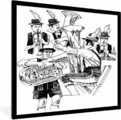 PosterMonkey Foto in lijst - Een illustratie van een band tijdens het oktoberfest met tuba's fotolijst zwart 30x40 cm - Poster in lijst (Wanddecoratie woonkamer / slaapkamer)