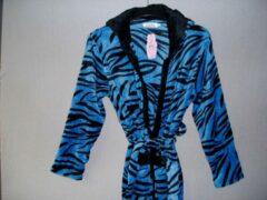 Fine Woman Badjas tijgerprint met centuur Fine women capuchon en zakken blauw XXL