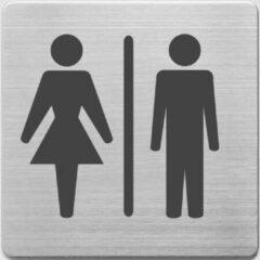 Grijze Pictogram Alco RVS 90x90x1mm - WC dames en heren