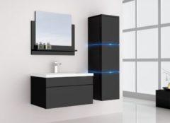Home Deluxe Wangerooge Badmöbel-Set schwarz, ca. 91 cm breit mit Seitenschrank und Spiegel (Gr. L)