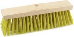Sorx Harde straatbezem/buitenbezem kop elaston 50 cm met gele synthetische haren - schoonmaken - bezems