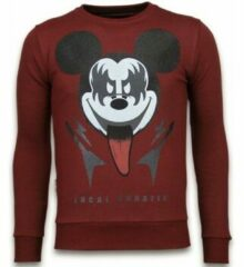 Rode Local Fanatic Kiss My Mickey - Rhinestone Sweater - Bordeaux Sweaters / Crewnecks Heren Sweater Maat XL