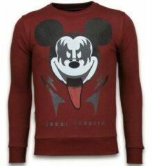 Rode Local Fanatic Kiss My Mickey - Rhinestone Sweater - Bordeaux - Maten: XL