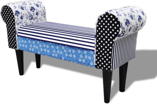 Afbeelding van VidaXL Patchwork bankje bloemen en stippen blauw en wit