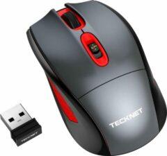 Rode Tecknet 2.4G Draadloze Muis met Nano Ontvanger | 2400 DPI met 4 niveaus | Windows Mac Macbook Linux