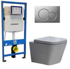 Douche Concurrent Geberit UP 320 Toiletset - Inbouw WC Hangtoilet Wandcloset - Alexandria Sigma-01 Mat Chroom