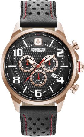 Afbeelding van Roze Swiss Military Hanowa watches chronograaf herenhorloge Airman 06-4328.09.007