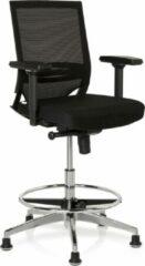 Hjh office Werkkruk/Verhoogde Bureaustoel - Verstelbare Armleuning - Stof - Zwart - Ergonomisch