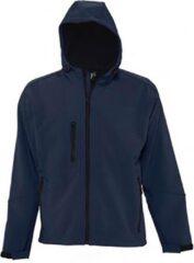 Marineblauwe SOLS Heren Replay Hooded Soft Shell Jacket (ademend, winddicht en waterbestendig) (Franse marine)
