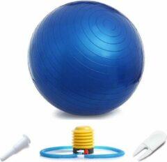 AJ-Sports Fitness bal 75CM - Yoga bal - Pilates bal - Gymbal - Zitbal - Zwangerschapsbal - Gymnastiek bal - Swiss bal - Inclusief pomp - Blauw