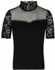 Morgan semi transparante top met stippen en kant zwart