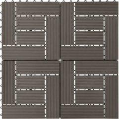 VidaXL Terrastegels 30x30 cm 1 m² HKC donkerbruin 11 st