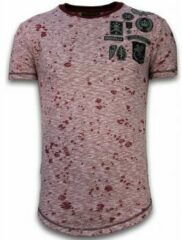 Rode T-shirt Korte Mouw Local Fanatic Longfit Asymmetric Embroidery - T-Shirt Patches - Guerrilla