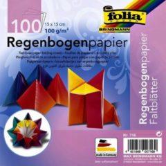 Folia Paper Vouwblaadjes Folia Regenboog 15x15cm assorti pak à 100 vel