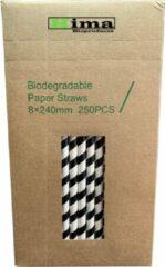"""Hima Bioproducts Papieren rietjes 8x240mm zwart/wit """"swirl"""", verpakt per 250 stuks in dispenserdoos"""