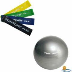Tunturi - Fitness Set - Weerstandsbanden 4 stuks - Gymball Zilver 55