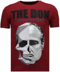 Rode Local Fanatic The Don Skull - Rhinestone T-shirt - Bordeaux - Maten: XL