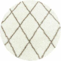 Creme witte Impression Himalaya Harmony Soft Shaggy Rond Hoogpolig Vloerkleed Creme - 80 CM ROND