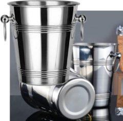Roestvrijstalen Decopatent® RVS ijsemmer - Champagne ijs emmer met handvat - Champagnekoeler - Drankemmer - Wijnkoeler - 18.5x18.5x23 Cm - Zilver