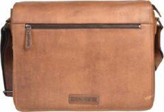 Hillburry tas - Lederen Messenger tas - Akte tas - 15 inch, 16 inch, 17 Inch laptoptas - Bruin / Cognac