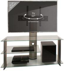 TV-Rack Lowboard Konsole Fernsehtisch TV Möbel Bank Glastisch Tisch Subwoofer Schrank 'Bulmo Silber' VCM Silbernes Aluminium / Klarglas