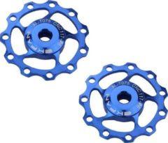 MTB Cycling Set CNC Aluminium derailleurwieltjes met kogellager - T11 - 7075 Alu - 2 stuks - Blauw