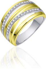 Gele Jewels Inc. - Ring - Meerdere banen gezet met Zirkonia Stenen - 11mm Breed - Maat 52 - Bi-color Verguld Zilver 925
