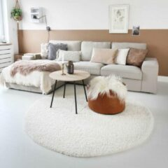 Creme witte Tapeso Hoogpolig vloerkleed shaggy Trend effen rond - crème 120 cm rond
