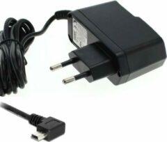 VHBW USB Mini B thuislader met vaste kabel en haakse connector (naar links) - 1A / zwart - 1,2 meter