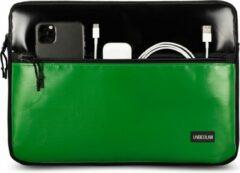UNBEGUN MacBook Pro 13 inch case met voorvak (van gerecycled materiaal) - Zwart/groene laptop sleeve voor nieuwe MacBook Pro 13.3 inch (2016/2017/2018/2019/2020)
