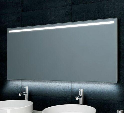 Afbeelding van Zilveren Douche Concurrent Badkamerspiegel Wiesbaden Ambi One 140x60cm Geintegreerde LED Verlichting Verwarming Anti Condens Touch Lichtschakelaar Dimbaar
