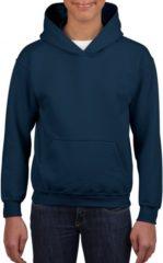 Blauwe Gildan Navy capuchon sweater voor jongens L (164)