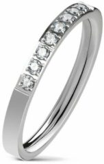 Moorell Ring Dames - Ringen Dames - Ringen Vrouwen - Zilverkleurig - Ring - Ringen - Sieraden Vrouw - Met 8 Steentjes van Zirkonia - Zircon