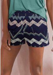 Blauwe LASCANA Korte pyjamabroek, met grafisch zigzagpatroon