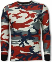 Rode TONY BACKER Army Shirt Zipped Back - Long Fit Sweater - Camo - Maten: S