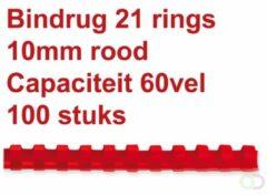 Rode Fellowes bindruggen, pak van 100 stuks, 10 mm, rood