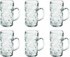 Transparante Santex 6x Bierpullen/bierglazen halve liter/50 cl/500 ml van onbreekbaar kunststof - 0,5 liter pullen - Bierfeest/Oktoberfest pul - Bierpul glazen – herbruikbare glazen