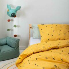 Witte Fresh&Co  Kids Fresh&Co Kids - Junior Kinderdekbedovertrek Mini Stripes - Geel 120x150 cm - Katoen - Kinderdekbedovertrek met 1 Kussensloop