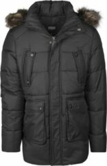 Urban classics Heren winterjas Faux Fur Hooded Jacket zwart