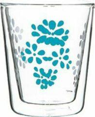Zak!Designs - Lily Dubbelwandige Koffiebeker - Borrosilicaat Glas - 200 ml - Aqua blauw