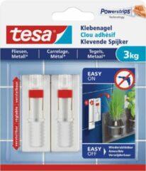 8x stuks Tesa klevende spijkers - wit - verstelbaar - voor oppervlaktes als tegels en metaal - draagkracht 3 kg - spijker / schroeven