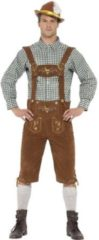 Smiffys Luxe bruine/groene Tiroler lederhosen kostuum met blouse voor heren - Carnavalskleding Oktoberfest/bierfeest complete verkleedoutfit - Maat M (EU 48-50)