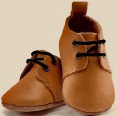 Stapperss Leren Babyschoenen met Veters bruin 12-18 mnd