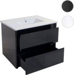 Heute-wohnen Waschbecken + Unterschrank HWC-B19, Waschbecken Waschtisch Badezimmer, hochglanz 50x80cm