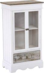 CLP Vitrine CASSIUS aus Holz I Schrank mit 2 Türen und 1 Schublade I Küchenschrank mit Glasfront