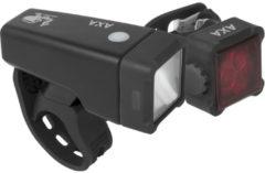 AXA LED Voor + Achterlicht Niteline T4-R USB Oplaadbaar Zwart